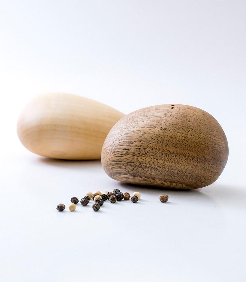 Modern Salt And Pepper Shakers  Elegant Wooden Stones  image 0