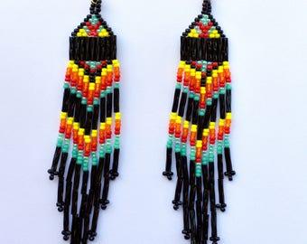 Dangling earrings,beaded earrings ethnic earrings,bugle bead earrings,seed bead earrings,southwestern style earrings,chevron style earrings
