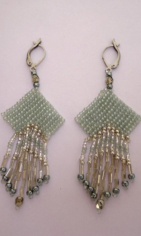 Beaded earrings chandelier style with seafoam green Miyuki ...