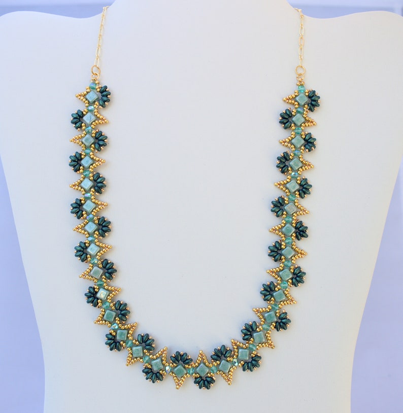 fire polished choker seed bead choker Victorian necklace super duo necklace mixed materials choker beaded necklace