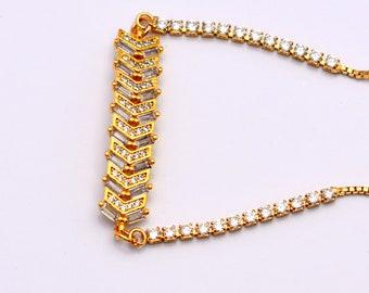 SALE of 20% off Reg. 24.00 Pave bracelet cubic zirconia bracelet,friendship bracelet,gold tone bracelet,baguette bracelet, bar bracelet