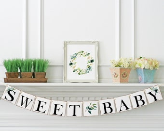 Baby Shower Baby Sprinkle Glitter Cursive Baby Shower Banner Sign FREE Laurels Included! Sweet Baby Boy Baby Shower Banner