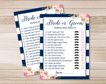 guess who said it bridal shower game question game bride or groom nautical navy blue wedding instant download funny nb101