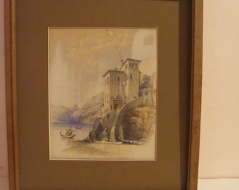 Rare Original 1847 Aquatint By George E Herring Titled Nesso Lake Como In Excellent Antique Condition