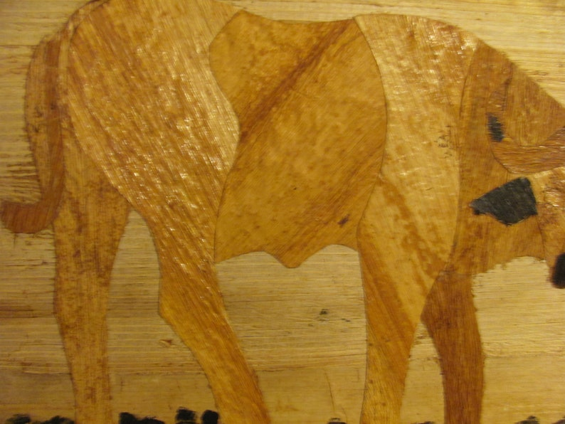 1960s 3D African Ox Hand Carved /& Painted In Kenya Using Precision Primitive Split Bamboo