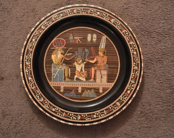 "Original Vintage 16""d. Egyptian Wood Plate with Inlaid Mother-of-Pearl, Copper & Hand Painted"