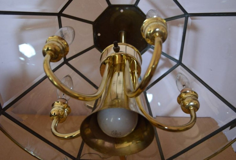 Vintage Deco 8 Sided Chandelier 6 Brass Candle Arms /& 1 Down Light