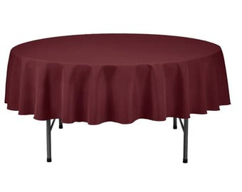 Superieur Burgundy Round Wedding Linentablecloth 70 Inch Round Banquet Polyester  Cloth, Wrinkle Resist Quality Tablecloth For Special Events Or Party