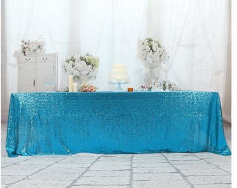 Turquoise Sequin Wedding Tablecloth 50 By 80 Inch Rectangular Sequin Cloth,  Shiny Sequin Quality Tablecloth For Special Events Or Party