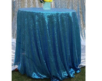 Bon Aqua Blue Sequin Wedding Tablecloth 60 By 102 Inch Rectangular Polyester  Shiny Cloth, Sequin Quality Tablecloth For Special Event Or Party