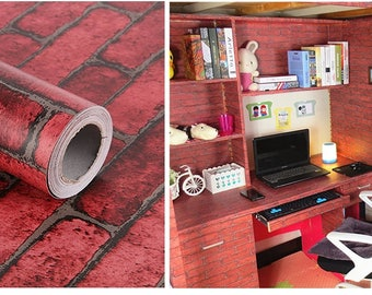 Red Brick Self Adhesive Shelf Drawer Liner or Door Sticker 17.7inch by 9.8 Feet For Party Decoration or Home Decorating, Brick Room Design
