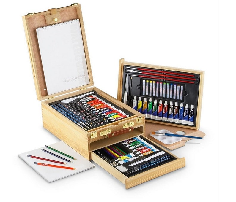cf7aa20651e95 All Media 104 Piece Easel Artist Set, Essential Art Supplies In Wooden  Storage Box With Drawers, For Traveling Artists Or Avid Art Students