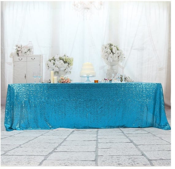 Turquoise Sequin Wedding Tablecloth 50 By 80 Inch Rectangular | Etsy