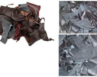 2 Pounds Of Small Leather Scraps For Garment Leather Cutting Mostly Black Colors, Thin Mix Leather Scraps For Making Purse, Wallets Or Shoes