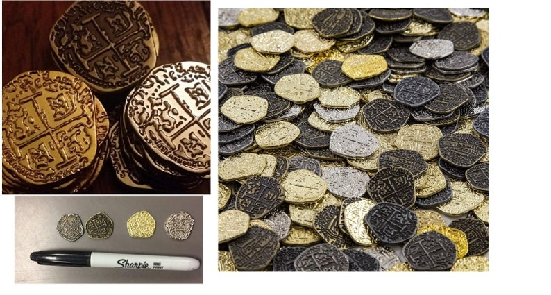 Metal Pirate Coins 30 Gold and Silver Spanish Doubloon Replicas, For Pirate  Treasure Hunts Or Crafting Projects, Stage Props Or Party Decor