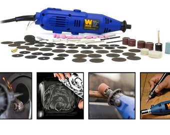 Variable Speed Rotary Tool Kit with 100 Piece Accessories, Tool For Polishing, Shaping And Drilling Fine Detail Into Wood Or Metal Precisely