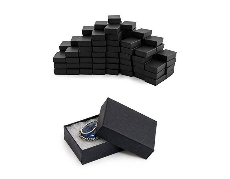 Black Jewelry Gift Boxes Cotton Filled 100 Count Square Etsy