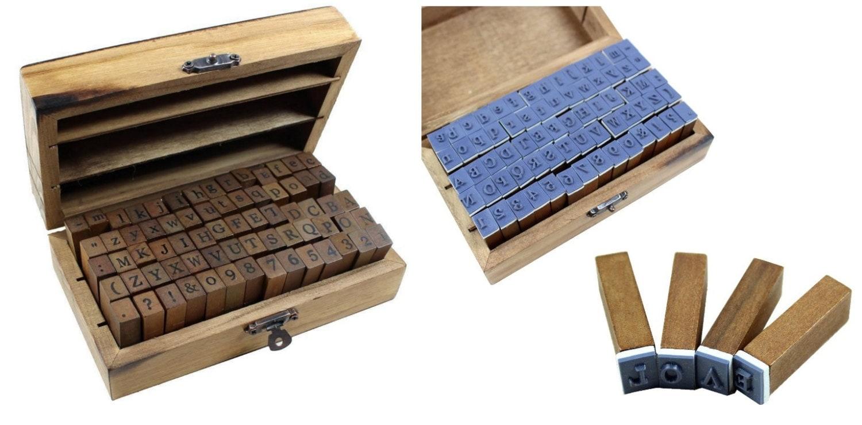 Boîte en bois polyvalente numéro Alphabet lettre bois timbre en Jeu caoutchouc 70 pièces ensemble. Jeu en de timbres alphabet pour les dons ou n'importe quel timbre objet d'artisanat 78960a