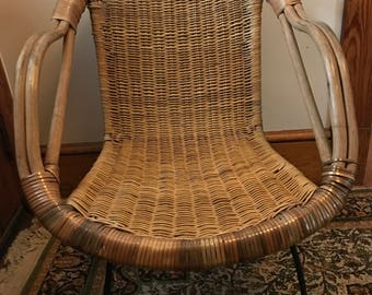 Mid Century Basket Chair Saucer Atomic Rattan Wicker Iron Franco Albini Style Scoop Bamboo