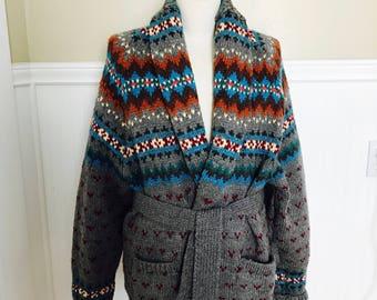 5fa2bcb250012 Ralph Lauren Sweater Hand knit Cardigan Shawl Fairisle Indian Blanket  Tribal Navajo Wool Southestern Boho Hipster Rare