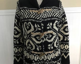 17fe572088066 Ralph Lauren Sweater Hand knit Wool Toggle Sweater Cowhichan Cardigan  Vintage Snow Stag Navajo Nordic Ski Sweater Holiday Sweater