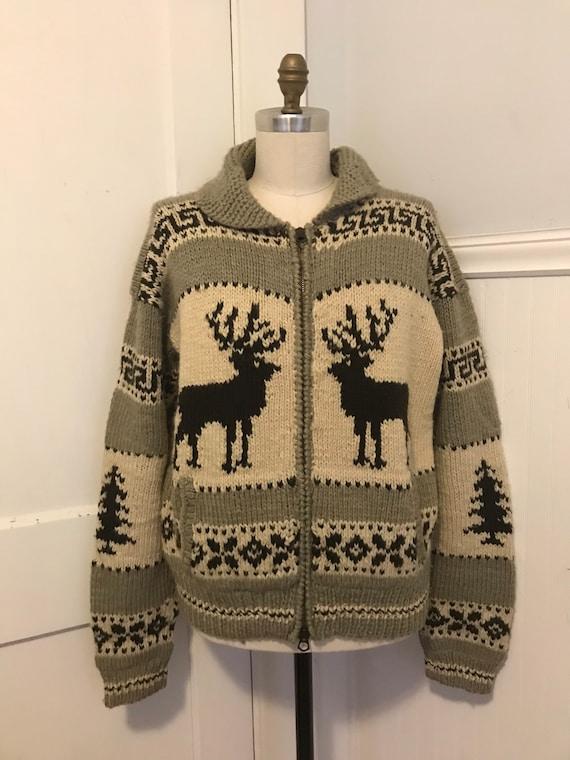 Ralph Lauren Hand knit Sweater Coat Wool Deer Cowh