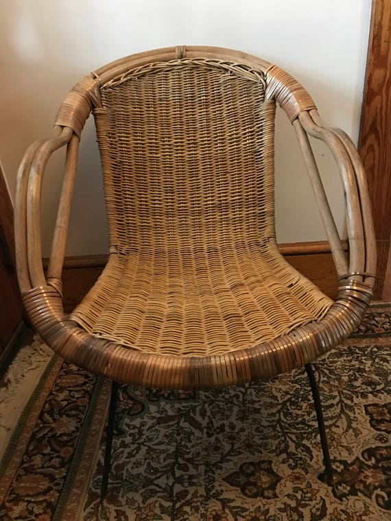 Mid Century Basket Chair Saucer Chair Atomic Rattan Wicker Iron Franco  Albini Style Scoop Chair Bamboo Chair