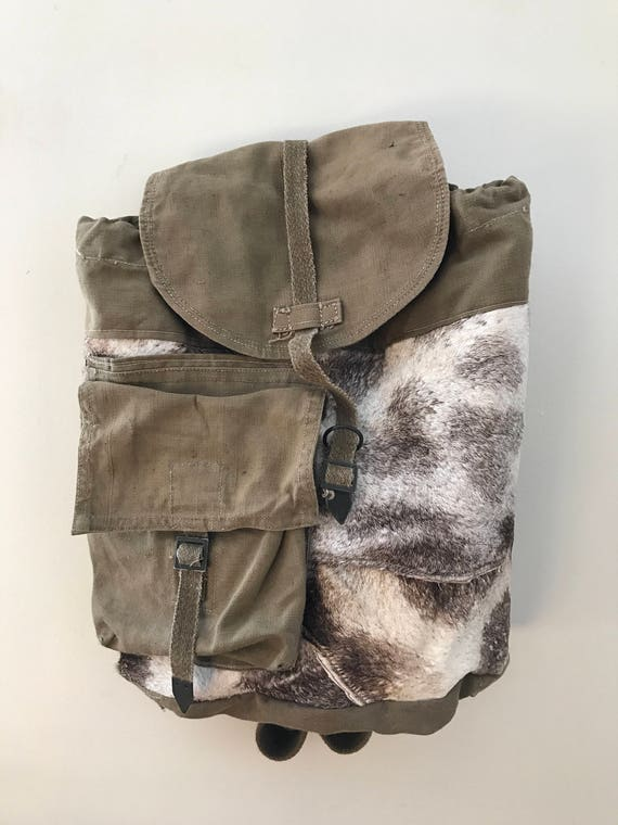 Giraffe Backpack Bag Vintage Army Bag Custom Fur Leather Tote   Etsy f3f69c9e85
