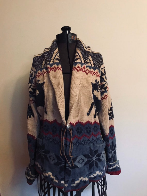 Ralph Lauren Hand Knit Sweater Coat Country Southw