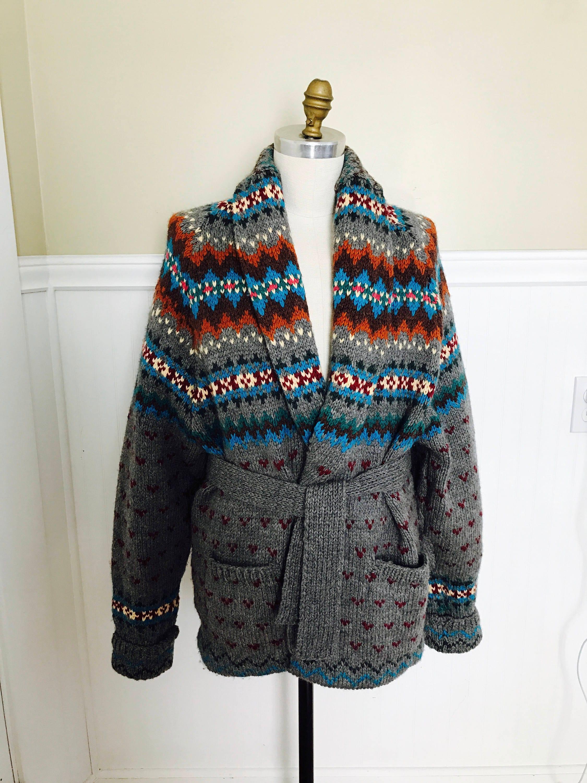 2b7c4118d4443c Ralph Lauren Sweater Hand knit Cardigan Shawl Fairisle Indian