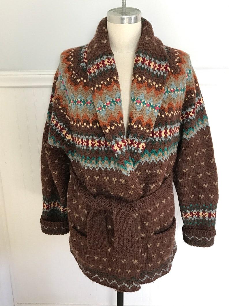 c8f9e31ca Ralph Lauren Sweater Hand knit Cardigan Shawl Fairisle Indian