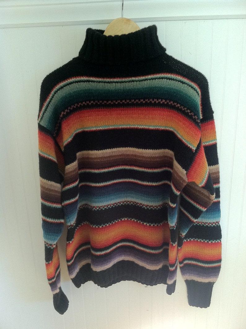 d1d9ef24514b RALPH LAUREN SWEATER Hand knit Serape Indian Blanket Pattern