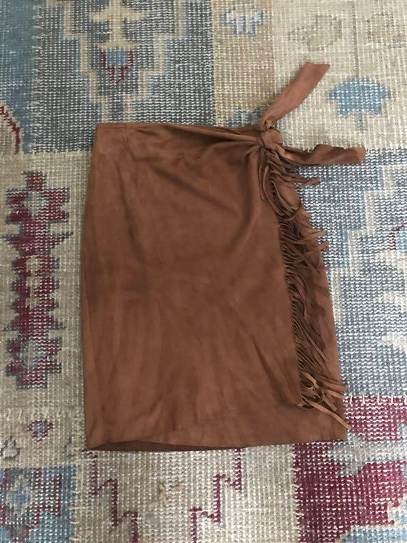 40a1ebc6804 Ralph Lauren Suade Skirt Fringed Suade Sarong Wrap Vintage