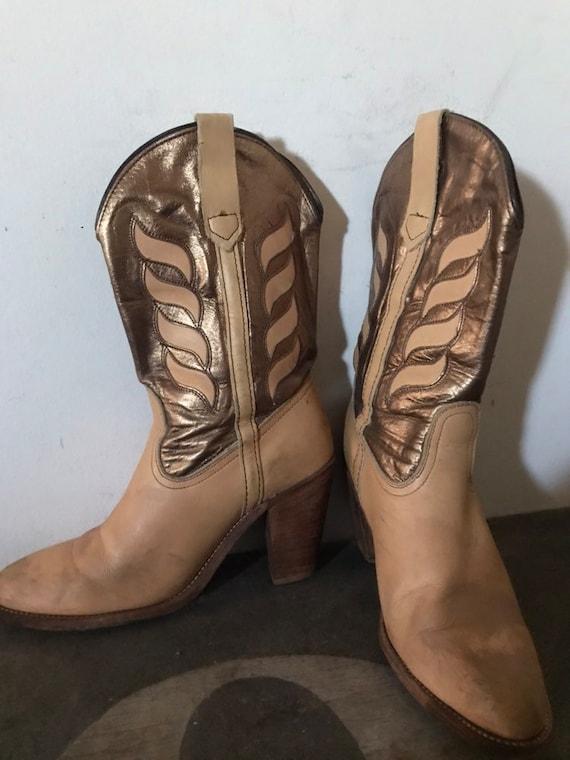 Vintage Frye Boots Western Boots Cowboy Boots Lea… - image 4