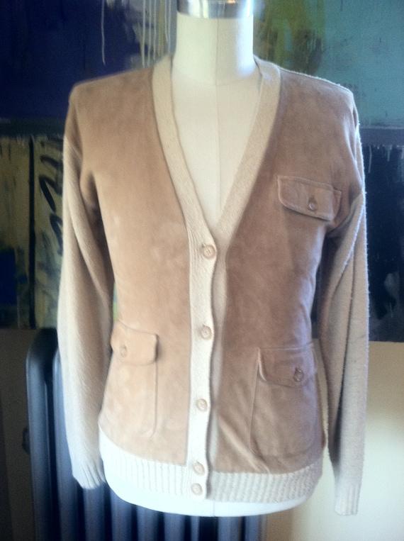 Ralph Lauren Sweater Cardigan Suede Silk Leather e