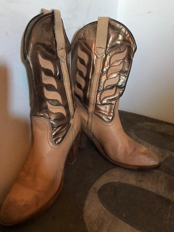 Vintage Frye Boots Western Boots Cowboy Boots Lea… - image 9