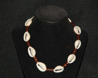 """Natural Hemp Choker Surfer Necklace --Cowrie Shells and Wooden Beads-- Choose Your Size 14"""" to 32"""""""