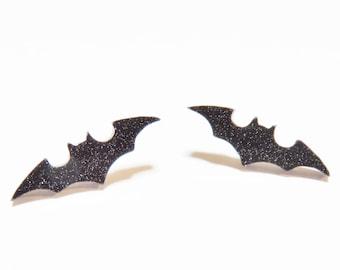 Black Bat Earrings - Bat Earrings Studs, Bat Stud Earrings, Black Glitter Bat Earrings, Halloween Jewelry, Bat Costume Accessory, Halloween