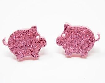 c81516e65 Pink Pig Stud Earrings - You Choose Backs, Laser Cut Acrylic Earrings, Pink  Glitter Pig Earrings, Kawaii Jewelry, Quirky Jewelry, Twee