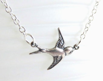 Silver Bird Necklace - Sparrow Necklace, Silver Necklace, Bird Jewelry, Little Bird Necklace, Bohemian Jewelry, Gift For Her, Simple Jewelry
