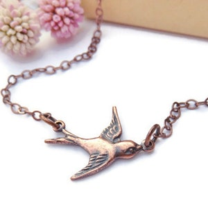 Antiqued Gold Sparrow Necklace With Orange Crystal Beads Asymmetrical Gold Bird Necklace You Choose Length Bird Jewelry Gift For Birder