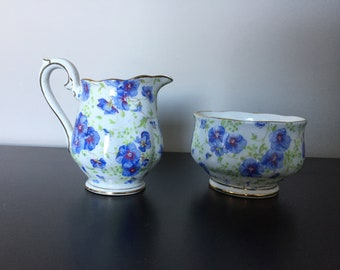 Adorable Royal Albert Blue Pansy Sugar Bowl & Creamer
