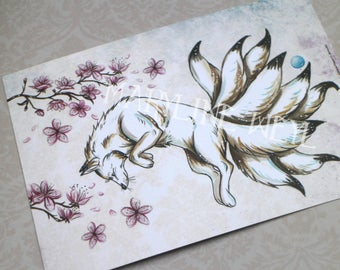 Card mailing Japanese kitsune and cherry Fox
