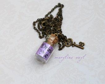 Necklace vial drink me purple