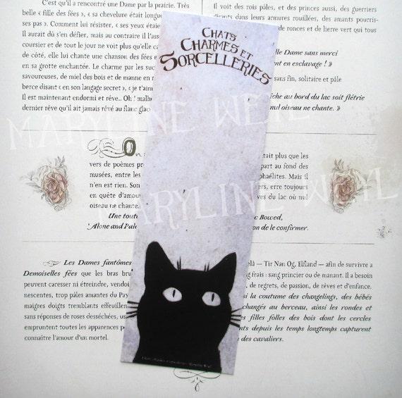 Marcador Negro Gato Gatos Encantos Y Conjuros