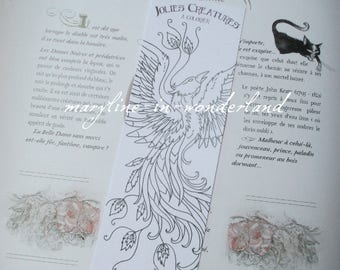 coloring bookmark coloring Phoenix Bird