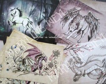 Set of 4 postcards Wolf Unicorn dragon