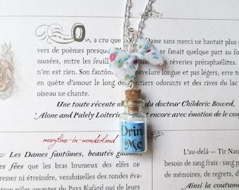 """Blue """"Drink Me"""" bottle vial necklace"""