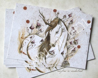 x 1 postcard woodland Unicorn horse
