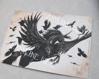 card mailing winged black Unicorn
